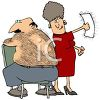 Hairy Man Having His Back Waxed clipart