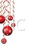 Red Christmas Ornaments Hanging on Curled Ribbons clipart