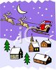 Santa and Reindeer Delivering Christmas Presents clipart
