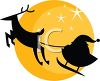 Reindeer Pulling Santa's Sleigh on Christmas Eve clipart