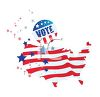 Stars and Stripes United States with a Vote Button clipart