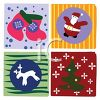 Christmas Tiles of Santa, Stockings, Reindeer and a Tree clipart