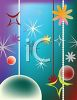 Festive Background of Christmas Ornaments and Stars clipart