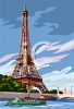 Realistic Eiffel Tower and a Boat Sailing in the River Seine clipart