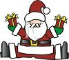 Cartoon Santa Claus Holding a Christmas Gift in Each Hand clipart
