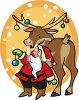 Santa Hanging Ornaments on a Reindeer's Antlers clipart