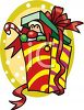 Santa Claus Peeking Out of a Christmas Present clipart
