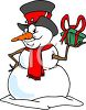 Cartoon of a Crafty Snowman Holding a Christmas Present clipart