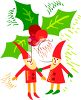 Elves and Holly at Christmas Time clipart
