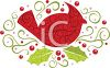 Cardinal with Leaves and Berries clipart