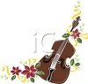 Fiddle with Poinsettias Design clipart