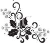 Black and White Holly Corner Border Design clipart