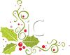 Pretty Christmas Holly Swirls clipart