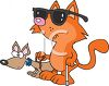 Cartoon of a Blind Cat with a Seeing Eye Dog clipart