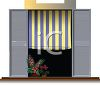 Realistic Window with a Striped Shade and Shutters clipart