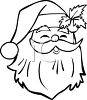 Coloring Page of a Laughing Santa Claus Face clipart