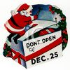 Cartoon of Santa Closing a Box of Gifts with Don't Open Until Christmas Message clipart