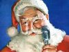 Classic Santa with an Old Fashioned Microphone clipart