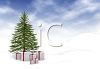 Packages Tied with Bows Under a Christmas Tree Outside in the Snow clipart