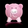 Glossy Pink Piggy Bank with Reflection on a Black Background clipart