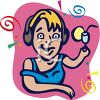 Happy Woman Listening to Music in Headphones clipart