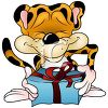 Cartoon of a Happy Leopard Holding a Gift clipart