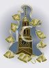 Clock Tower on a Church with Gold Bells and Snow clipart