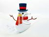 3D Snowman in a Snow Bank clipart