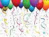 Balloons in Bright Colors with Confetti and Streamers clipart