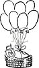 New Baby in a Basket with Balloons clipart