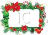 Festive Christmas Frame with Poinsettia's and Ornaments clipart