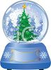 Pretty Christmas Tree in a Snow Globe clipart