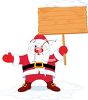Cartoon of a Fat Santa Claus Holding up a Blank Sign clipart