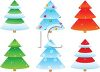 Christmas Tree Set in Various Colors clipart