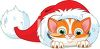 Cute Orange Christmas Kitten Inside a Santa Hat clipart