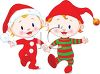 Twin Toddlers Holding Hands Wearing Their Christmas PJ's and Santa Hats clipart