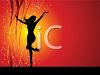 Silhouette of a Dancing Woman on a Holiday Background clipart