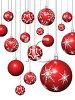 Red Christmas Balls with Snowflake Designs Hanging from Chains clipart
