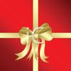 Gold Ribbon Tied Around a Red Gift clipart