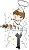 Catering Chef Serving Food at a New Year's Eve Party clipart