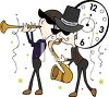 Musicians Playing in Front of a Clock at a New Year's Eve Party clipart