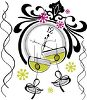 Martinis and a Clock Celebrating the New Year clipart