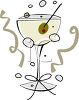 Green Olive Garnish in a Martini clipart