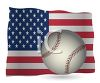 Patriotic Background of a Baseball on an American Flag clipart