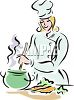 Female Chef Stirring a Pot clipart