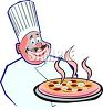 Round Faced Italian Chef Holding a Pizza clipart