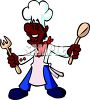African American Ethnic Chef Cartoon clipart