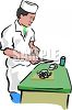 Asian Chef Cutting Vegetables clipart