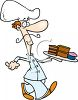 Cartoon of a Pastry Chef Carrying a Tray of Goodies clipart