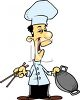 Oriental Chef Holding a Wok and Chopsticks clipart